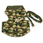 View Image 1 of Camo Dog Harness Vest - Green with Swarovski Crystal Star