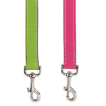 View Image 2 of Casual Canine Flat Leather Leash - Raspberry Sorbet
