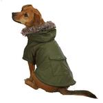 View Image 2 of Casual Canine Fur Trim Dog Parka - Chive