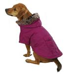 View Image 3 of Casual Canine Fur Trim Dog Parka - Deep Raspberry
