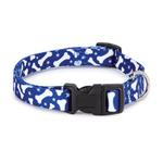 View Image 1 of Casual Canine Pooch Pattern Dog Collar - Blue Bone