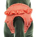 View Image 1 of Checkered Dog Sanitary Pants by Puppe Love - Red
