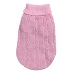 View Image 3 of Chenille Cable Knit Dog Sweater - Pink
