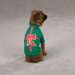 View Image 1 of Christmas Present Dog T-Shirt - Green