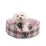 View Image 1 of Classic Plaid Dog Bed by Puppia - Pink