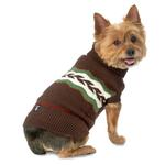 View Image 1 of Colby's Winter Fair Isle Dog Sweater - Brown