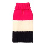 View Image 1 of Color Block Dog Sweater by Fab Dog - Hot Pink, Cream, and Navy