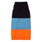 View Image 1 of Color Block Dog Sweater by Fab Dog - Navy, Blue and Orange