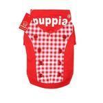 View Image 1 of Combo Gingham and Button Dog Hoodie by Puppia - Red