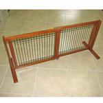 View Image 1 of Crown Wood-Wire 21inch Height Pet Gate - Chestnut Brown
