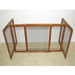 View Image 1 of Crown Wood-Wire 30inch Height Pet Gate - Chestnut Brown