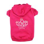 Crowned Crossbone Dog Hoodie - Raspberry Sorbet
