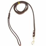 View Image 2 of Crystal Bone Leather Dog Leash - Chocolate Brown