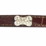 View Image 4 of Crystal Bone Leather Dog Leash - Chocolate Brown