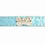 View Image 4 of Crystal Bone Leather Dog Leash - Paradise Blue