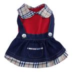 View Image 1 of Denim Overall Dog Dress with Plaid Trim
