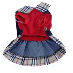 View Image 2 of Denim Overall Dog Dress with Plaid Trim