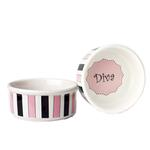 Diva Stripes Dog Bowl