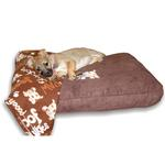 View Image 1 of Dog Bed & Blankie Set - Brown