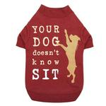 View Image 2 of Dog is Good Doesn't Know Sit Dog T-Shirt - Red