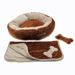 View Image 4 of Donut 3-Piece Dog Bed Set - Brown/Beige