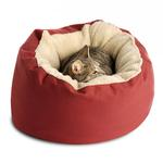 View Image 1 of Donut Sherpa Cat Bed by Dog Gone Smart - Red