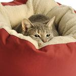View Image 4 of Donut Sherpa Cat Bed by Dog Gone Smart - Red