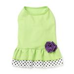 View Image 2 of Double Ruffle Knit Dog Dress with Rosette - Lime