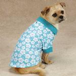 View Image 4 of Hibiscus Dog Polo - Blue