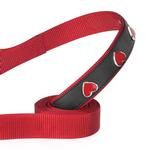 View Image 2 of East Side Collection Heart Charm Dog Leash - Red & Black