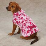 View Image 1 of Heart Fleece Dog Jacket - Pink
