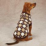 View Image 2 of Hooded Argyle Dog Sweater - Chocolate