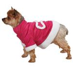 View Image 1 of East Side Collection Hooded Sherpa Dog Coat - Raspberry