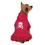 View Image 1 of Rock Star Ruffle Hoodie Dog Dress - Skull