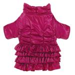 View Image 1 of Ruffle Dog Parka - Deep Raspberry