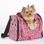 View Image 1 of Vibrant Leopard Pet Carrier - Raspberry