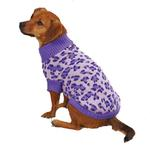 View Image 2 of East Side Collection Vibrant Leopard Dog Sweater - Ultra Violet