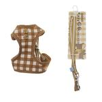 View Image 1 of EasyGO Checkered Dog Harness by Dogo - Beige