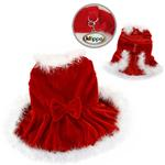 Elegant Christmas Furry Dog Dress by Klippo