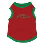View Image 3 of Embroidered Santa Pullover Tee 'Santa's Little Yelper' - Red