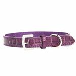 View Image 2 of Faux Crocodile Dog Collar with Letter Strap - Purple