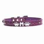 View Image 3 of Faux Crocodile Dog Collar with Letter Strap - Purple
