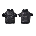 View Image 2 of Faux Leather Bomber Jacket - Black