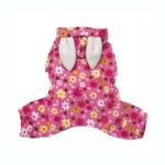 View Image 2 of Floral Bunny Hooded Dog Jumpsuit by Klippo