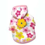 View Image 1 of Floral Fleece Dog Hoodie with Flowers by Klippo