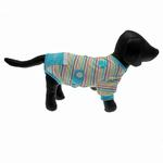 View Image 4 of FouFou Striped Dog Onesie - Blue