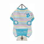 View Image 1 of FouFou Striped Dog Onesie - Blue