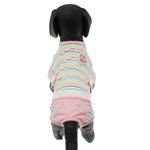 View Image 4 of FouFou Striped Dog Onesie - Pink