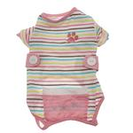 View Image 3 of FouFou Striped Dog Onesie - Pink