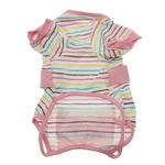 View Image 2 of FouFou Striped Dog Onesie - Pink